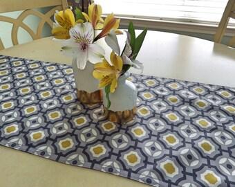 Grey Table Runner-Modern Grey Geometric Print Table Runner- Grey,White ,Yellow Table Runner-Retro Print Table Runner
