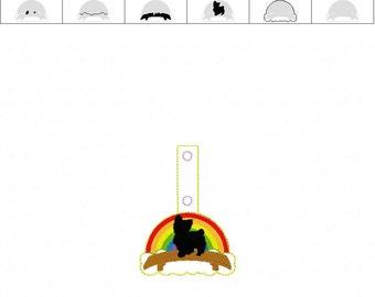 Yorkie Rainbow Bridge  - Yorkshire Terrier - Dog - Pet Loss - In The Hoop - Snap/Rivet Key Fob - DIGITAL Embroidery Design