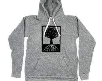 Men Tree Hoody - Grey Tree Hoodie - Tree illustration - Tree Art - Small, Medium, Large, XL