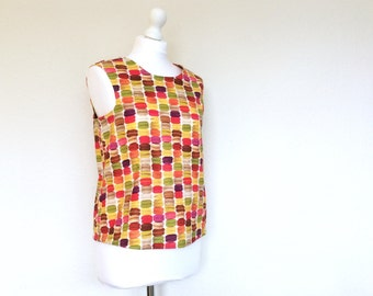 Macaron Button back blouse, button back women's shirt, Macaroon print blouse, unusual top, sleeveless colourful blouse, sample sale