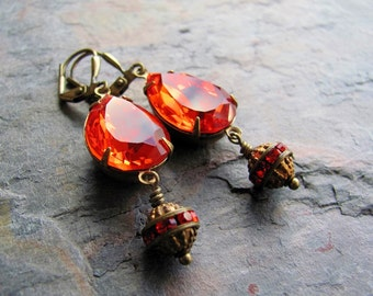 Tangerine Swarovski Crystal and Antique Brass Drop Earrings