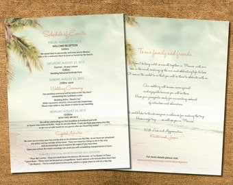 Beach Wedding Welcome Itinerary | Destination Tropical Ceremony | Antique Palms | Vintage Blue Coral Golds | Mexico | Dominican | Caribbean