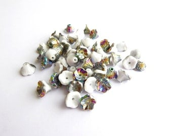 60 x Chalk White Vitrail Flower Cup Beads, 7x5mm Flower Beads, Flower Cup Czech Glass Beads, White Flower Beads FLW0170