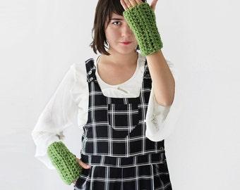 Crochet Fingerless Gloves - Chunky Winter Gloves - Wrist Warmers in Avocado - Winter Fashion Accessories | The Rhea Gloves |