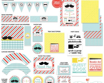 Barbershop Mustache Little Man Party Printable Birthday Party Printables Kit
