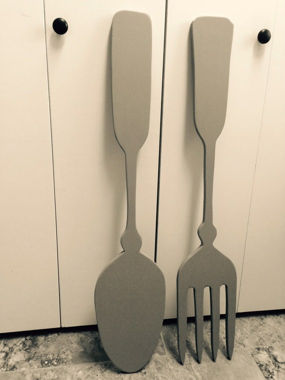 wood fork and spoon wall decor large by alternativelighting. Black Bedroom Furniture Sets. Home Design Ideas