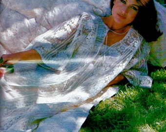 DIY By-the-Yard Lace Caftan or Beach Cover-up Vintage PDF Sewing Instructions Pattern