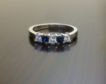 18K White Gold Blue Sapphire Diamond Engagement Band - 18K Gold Sapphire Diamond Wedding Band - Blue Sapphire Band - Diamond Band - Bridal
