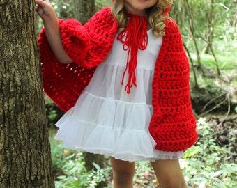 Little Red Riding Hood Cape - Crochet - Toddler - Child - Newborn - Baby - Teen - Adult - Girl - Photo prop