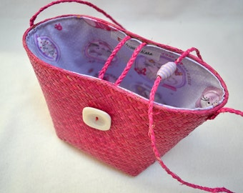 Purse little girl in straw and cotton sweet cats