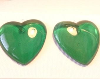 VINTAGE HEART earrings Lucite Earrings Green Heart Earrings 1.25 inch Pierced