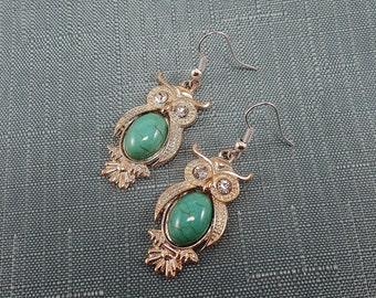 Gold Tone Owl Earrings - Dangle Owl Earrings - Turquoise Owl Earrings