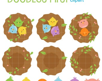 Cute Baby Birds Digital Clip Art for Scrapbooking Card Making Cupcake Toppers Paper Crafts