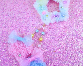 MADE TO ORDER-Multi Colored Fuzzy Two Way Clip-Sweet Lolita Hair Accessory-Fairy Kei Accessory-Alligator Clip-Women's Hair Accessory