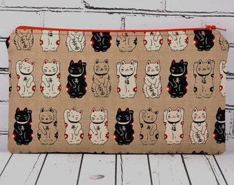 Lucky Japanese Cat Pencil Case, Maneki Neko Cat Pencil Bag
