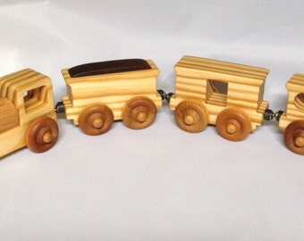 Wooden Toy Train  Vintage Style - Child Safe, Handcrafted from Reclaimed Pine or Old Growth Poplar Eco-friendly by GiggleTree Toys