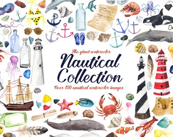 Giant Watercolor Nautical Collection, Nautical Clip Art, Lighthouse clipart, Whales, Fishes, Seaside Clip Art Set, Sailing Clip Art, Ocean