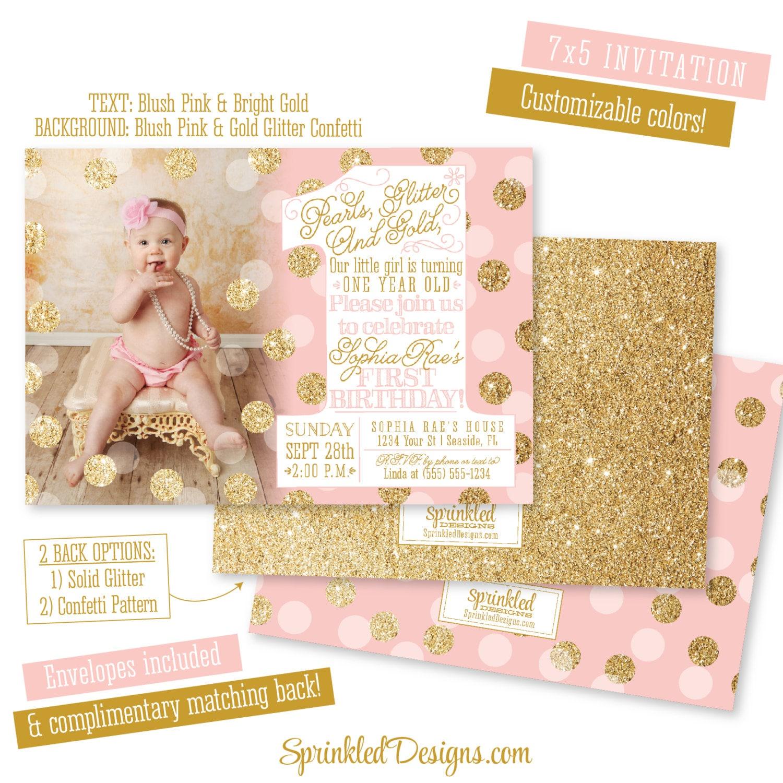 First Birthday Girl Invitation Card Pearls Glitter