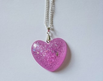 Large resin heart necklace