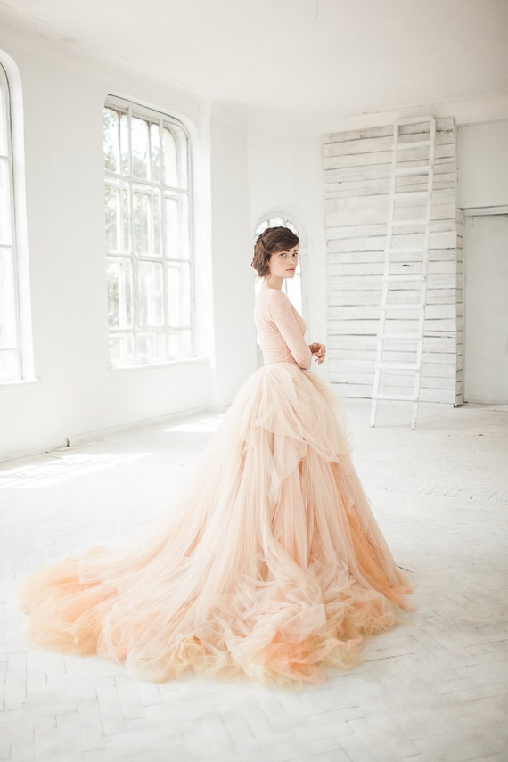 Nude tulle wedding skirt // Peony / Bridal separates blush