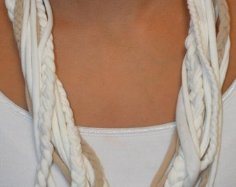 Cream and Tan Braided Fabric Necklace
