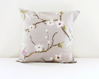 Cherry blossom pillow cover, 16 inch cushion cover in Prestigious textiles, Emi fabric, 100% cotton fabric,  handmade in the UK