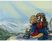 Kings on the Mountain - Bilbo and Thorin - Hobbit Fanart Print