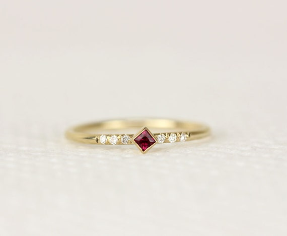 princess cut ruby ring in 14k gold thin band simple