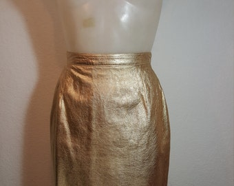 FREE  SHIPPING     Gold Leather Mini Skirt
