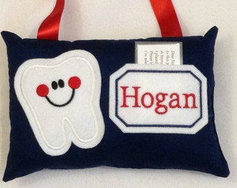Personalized Tooth Fairy Pillow-Boy Door Hanging Tooth Fairy Pillow-Navy Blue Tooth Pillow