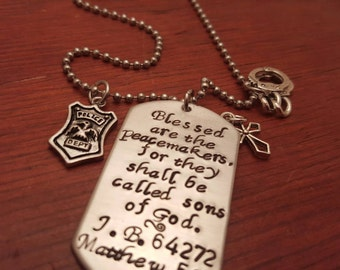 Personalized Police Officer dog tag necklace-Blessed are the peacemakers-Policeman gift-Police gift-Matthew 5:9-State Trooper gift