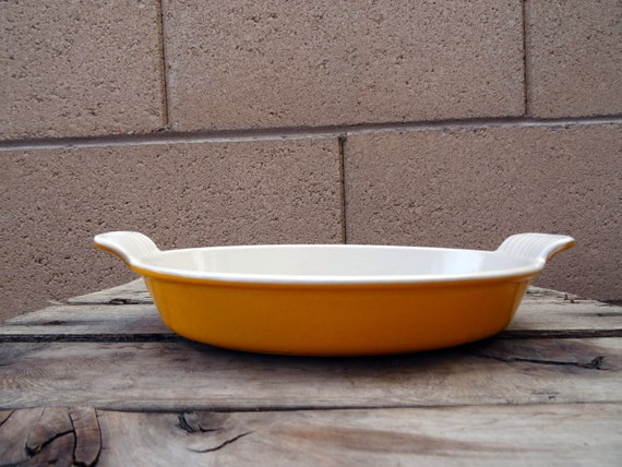 Vintage Cousances Enamel Cast Iron Au Gratin Pan 24 Yellow