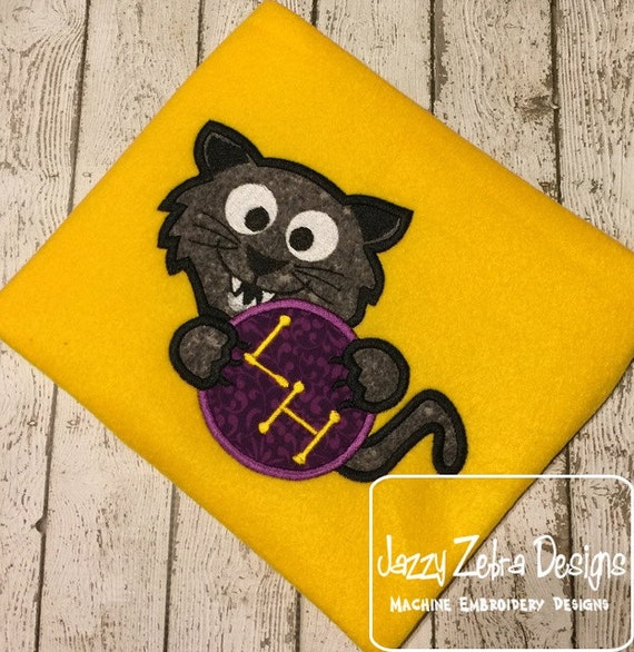 Panther Monogram frame Appliqué embroidery Design - Bobcat Monogram frame Appliqué embroidery Design - Cougar Monogram frame Appliqué