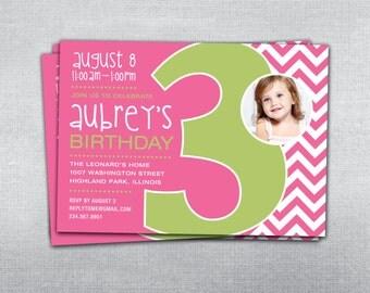 3rd birthday invitation chevron. Photo birthday invitation.