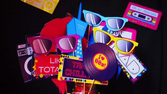 1980s - Bright - Colourful - ADULT - Bachelorette - Birthday - Photobooth Props - PDF - Digital File - Instant Download