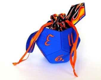 Bright Blue and Orange Small d12 Dice Bag and Miniature Bag
