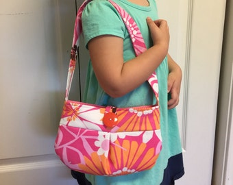 Toddler Girls Purse Handbag - Floral, Pink, Orange
