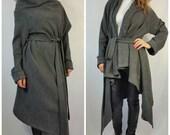 Gray Loose Aymmetrical Cardigan / Spring Cape Coat / Long Sleeve Oversize Cardigan / Women Loose Vest / EXPRESS SHIPPING / MD 10033