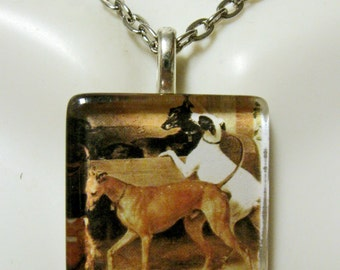 Greyhound family pendant and chain - DGP01-156