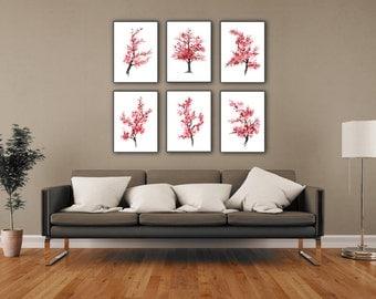 Cherry Blossom Set of 6, Pink Flower Watercolor Painting, Abstract Tree Art Print, Japanese Art Sakura Poster