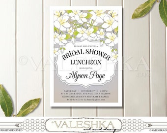 Bridal Shower Luncheon Invitation White Flowers Luncheon Brunch Dinner Bridesmaids Engagement Party Beautiful Printable Digital & E-vite