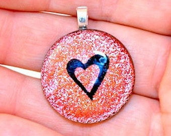Dichroic Fused Glass Heart Pendants .75 inch