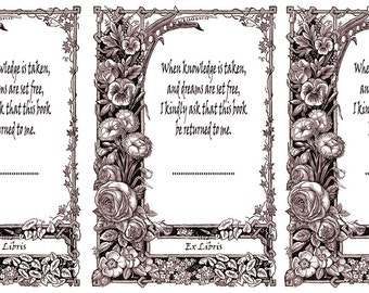 Ex libris bookplates to download and print in a selection of colours for just 99p