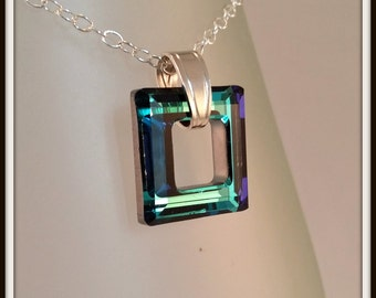 Blue Swarovski Pendant, Square Bermuda Blue Jewellery, Cosmic Ring Necklace, Gift For Her Under 20. Girlfriend Gift. Valentines Present.