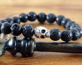 Mens Lava Bracelet, Men's Skull Bracelet, Men's Yoga Bracelet, Men's Black Bracelet, Skull Bracelet, Men's Stretch Bracelet, For Him,