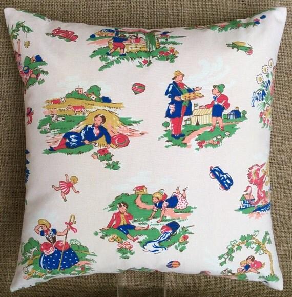 Vintage 1940s nursery rhyme fabric cushion with interior for Retro nursery fabric