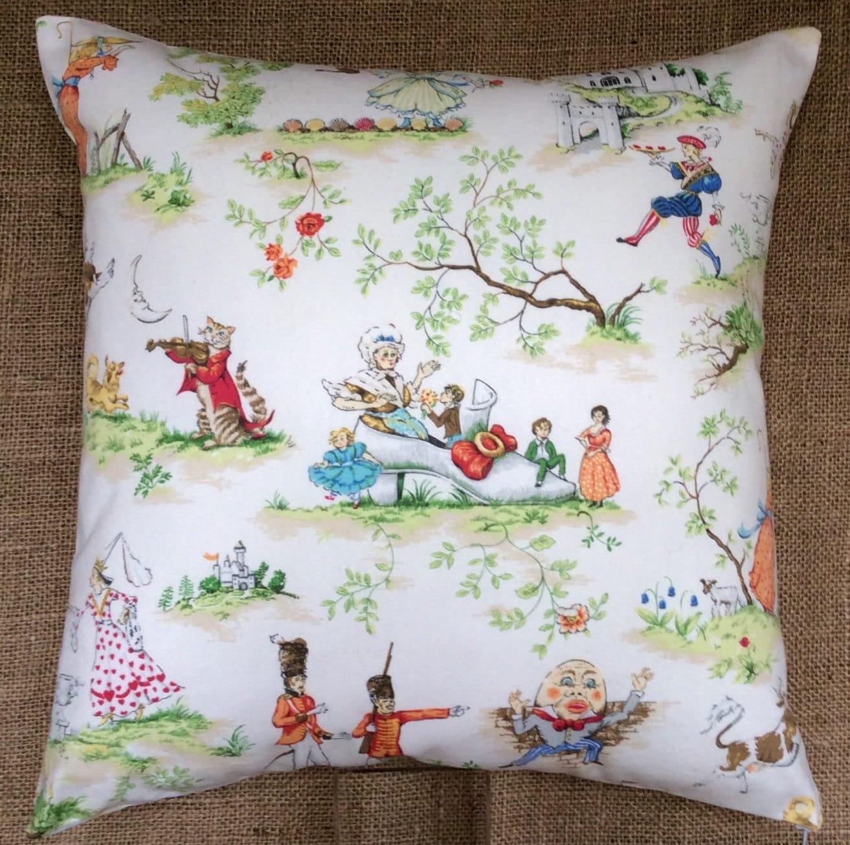 Vintage covington nursery rhyme fabric cushion 39 over the for Retro nursery fabric