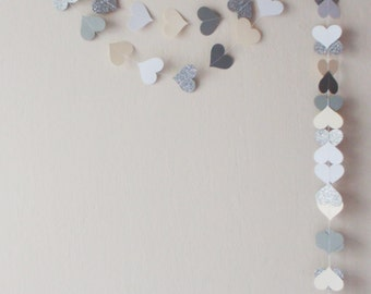 Ivory White Grey Silver glitter paper heart garland , Ivory Wedding garland, Birthday decoration , Ivory nursery decor