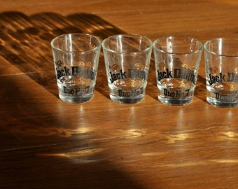 Set of 4 Vintage Jack Daniel's Old No. 7 Tennessee Whiskey Shot Glasses - Made by Ever-joy
