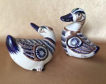 Mexican Pottery Birds, Mexican Folk Art, Hand Painted Mateos, Tonala Stoneware, Folk Art Pottery, Blues and Brown, Tonala Pottery birds